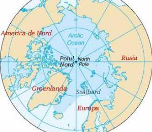 polul nord continente invecinate